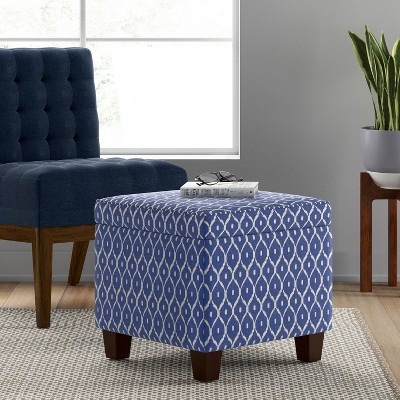 Fairland Square Storage Ottoman Blue Ikat   Threshold™ : Target