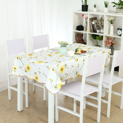 """54""""x71"""" Rectangle Vinyl Water Oil Resistant Printed Tablecloths Yellow Sunflower - PiccoCasa"""