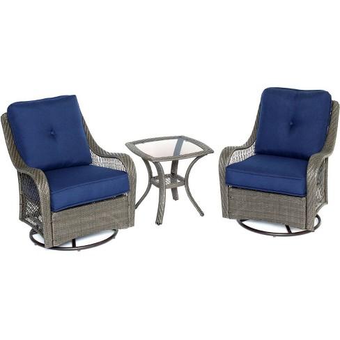 Merritt 3pc Swivel Glider Chair Seating, Swivel Glider Outdoor Chair Set