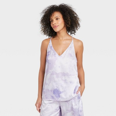 Women's Tie-Dye Satin Sleep Camisole - Stars Above™ Purple