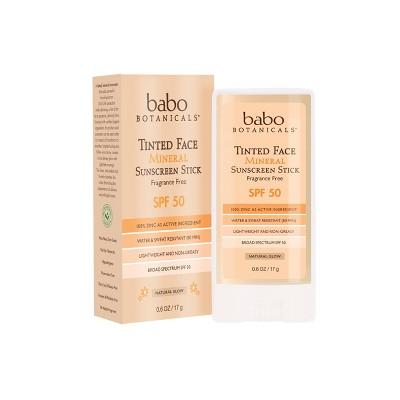 Babo Botanicals Tinted Face Mineral Sunscreen Stick - SPF 50 - 0.6oz