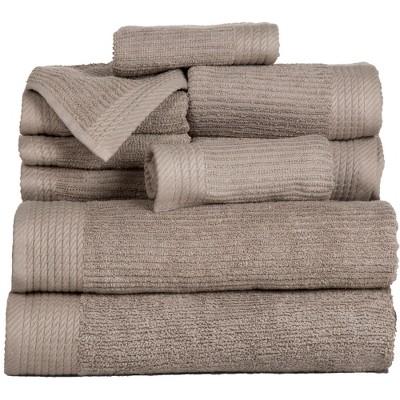 Solid Bath Towels And Washcloths 10pc Taupe - Yorkshire Home