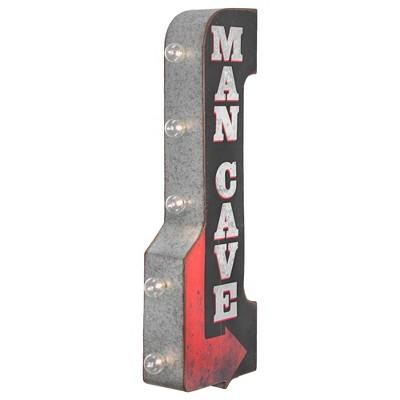 Man Cave Vintage LED Marquee Arrow Sign Black - Crystal Art Gallery