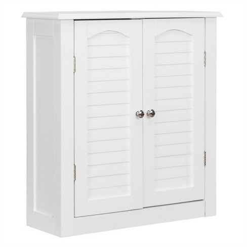 Lombard Two Shutter Style Doors Decorative Wall Cabinet White Elegant Home Fashions Target