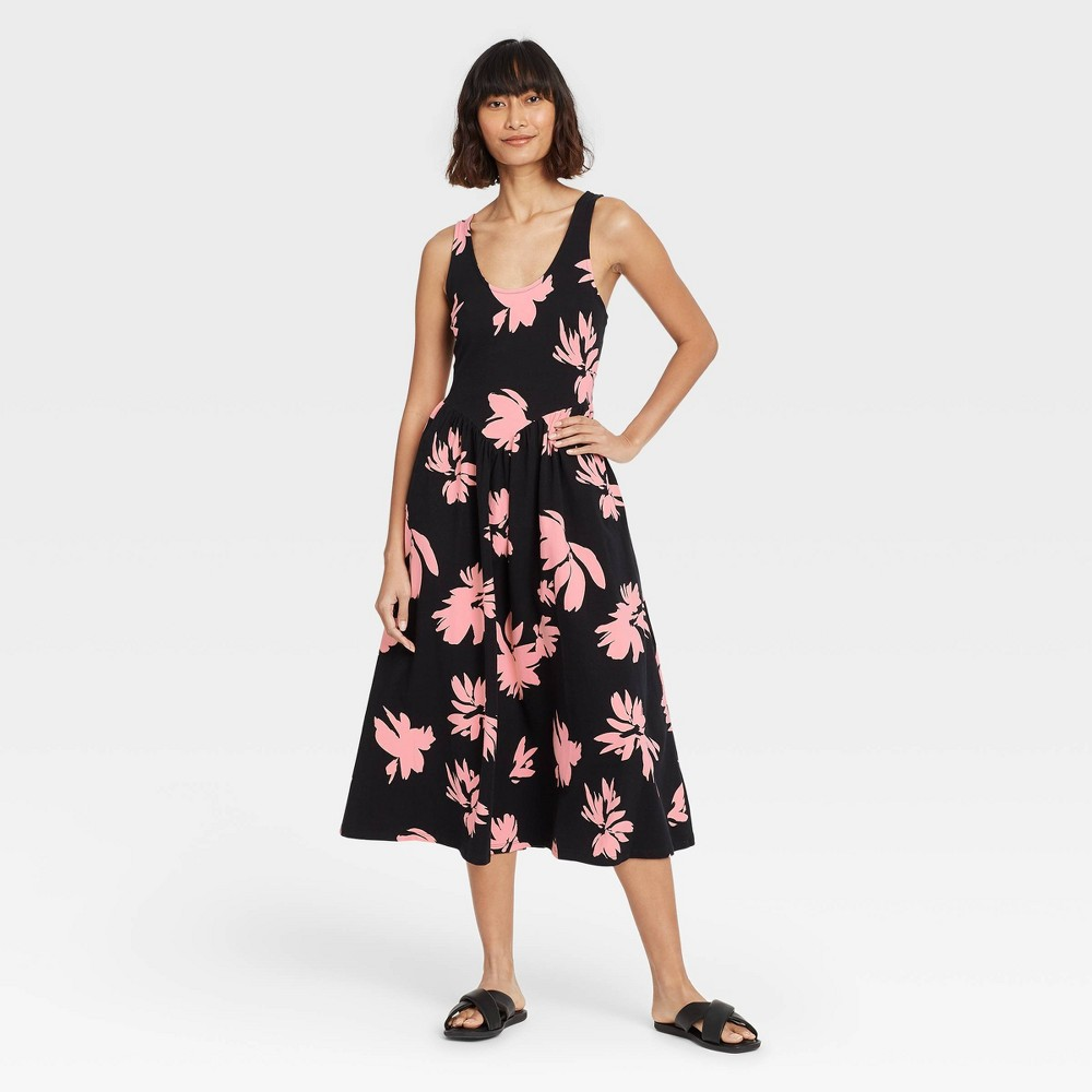 Women 39 S Floral Print Sleeveless Dress Who What Wear 8482 Black Basin S