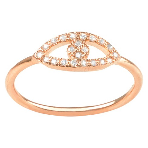 1/5 CT. T.W. Round-cut Cubic Zirconia Evil Eye Pave Set Ring in Sterling Silver - Rose Gold - image 1 of 2