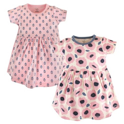 Touched by Nature Baby and Toddler Girl Organic Cotton Short-Sleeve Dresses 2pk, Blossoms