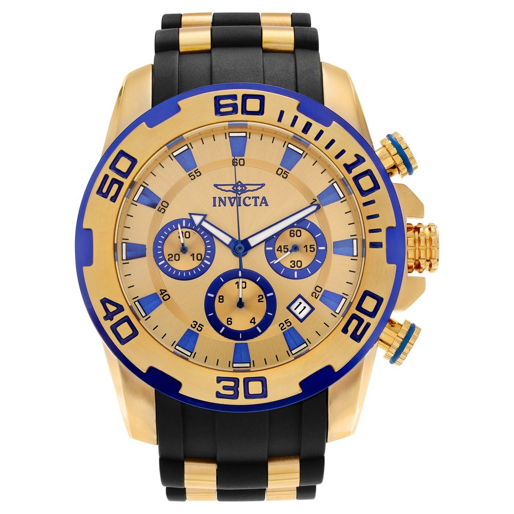 Men's Invicta 22308 Pro Diver Stainless Steel Chronograph Strap Watch - Gold/Black