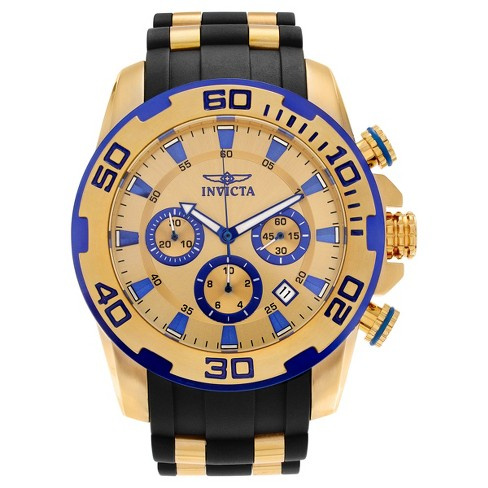 Men's Invicta 22308 Pro Diver Stainless Steel Chronograph Strap Watch - Gold/Black - image 1 of 3