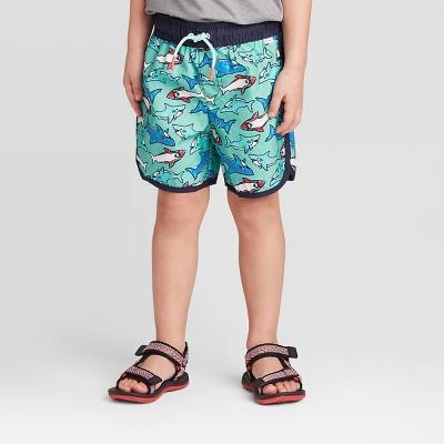 Toddler Boys' Shark and Dolphin Pirnt Swim Trunks - Cat & Jack™ Green 12M