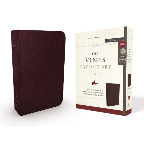 NKJV, the Vines Expository Bible, Bonded Leather, Burgundy, Red Letter Edition - by  Thomas Nelson - image 1 of 1