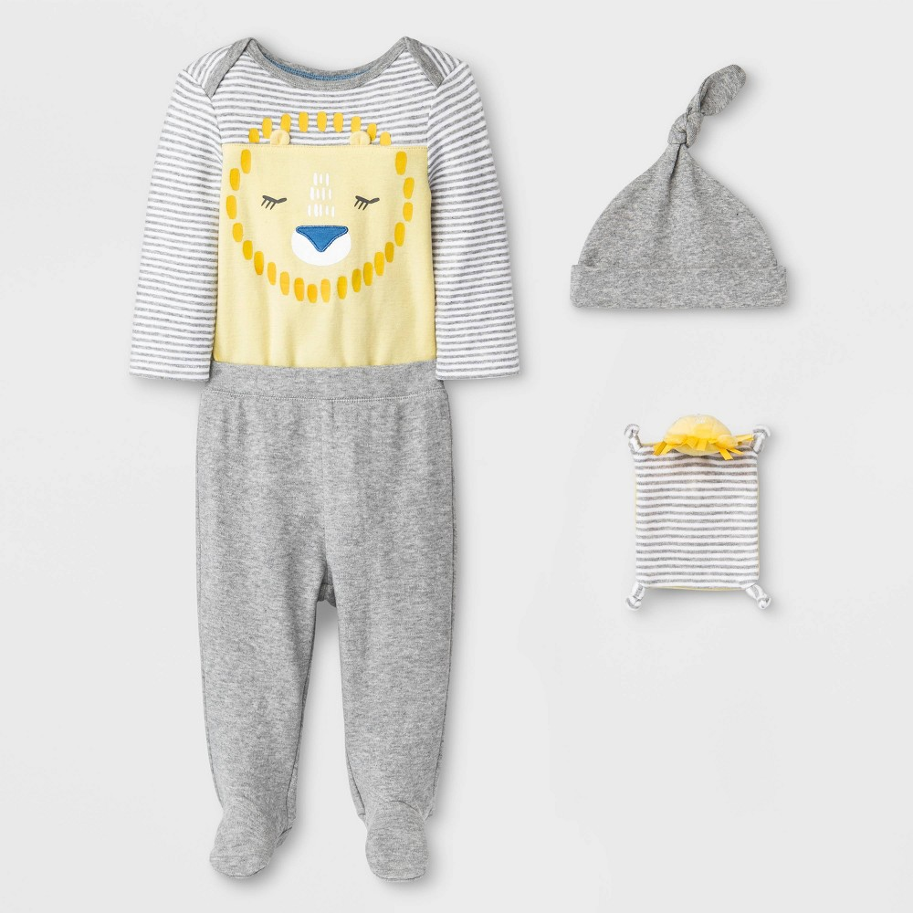 Image of Baby 4pc Lion Layette Gift Set - Cloud Island Yellow 0-3M, Kids Unisex, Blue/Yellow