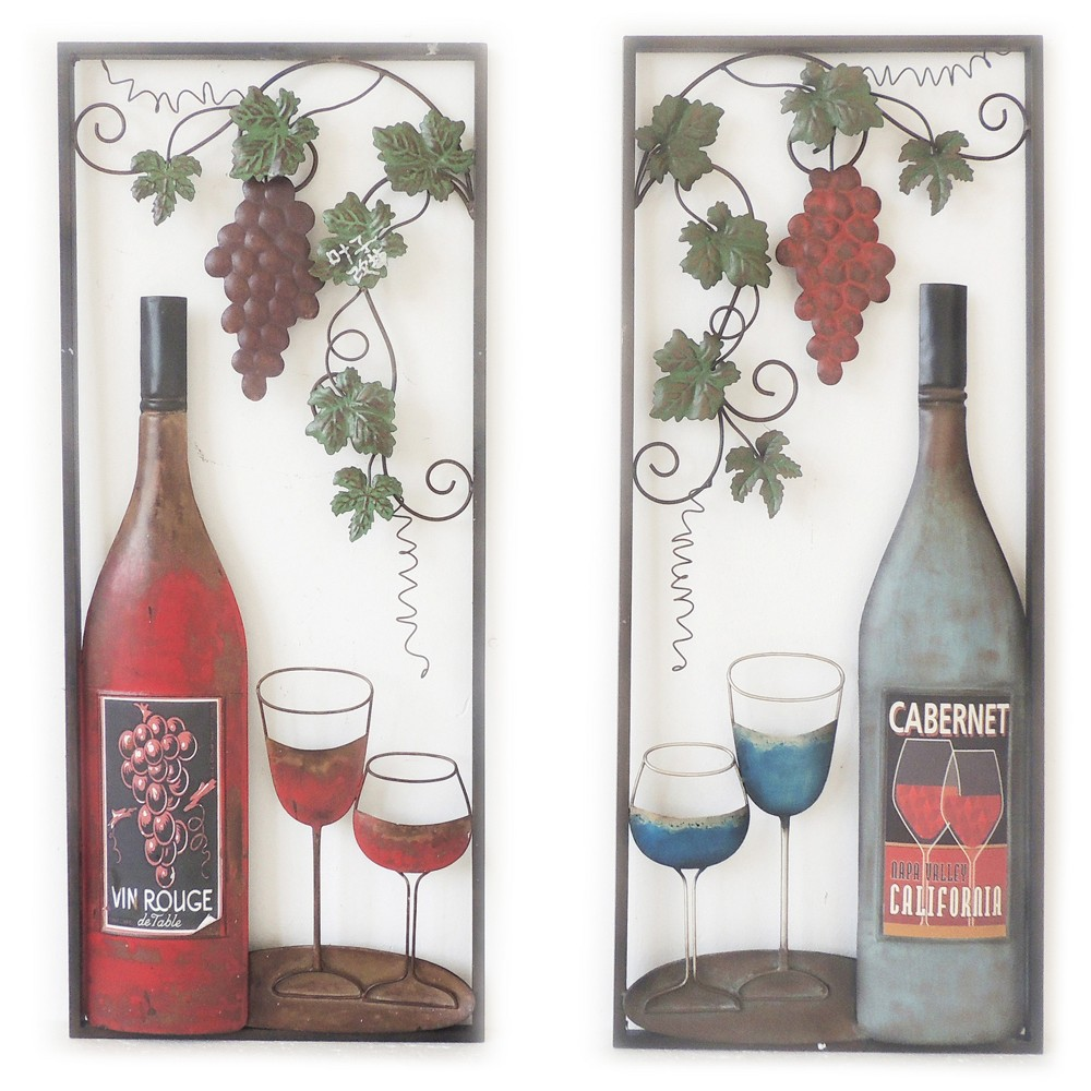 Assortment-Wall Decor-Wine with 2 Glasses - Home Source, Cabernet Red