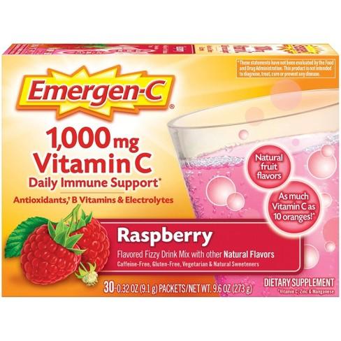 Emergen-C Vitamin C Dietary Supplement Drink Mix - Raspberry - 30ct - image 1 of 4