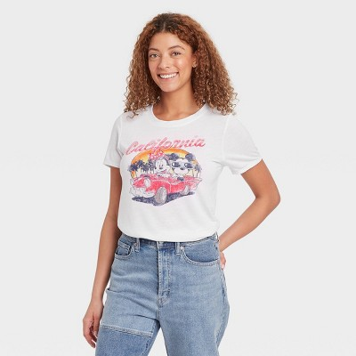 Women's Disney Mickey and Minnie Short Sleeve Sunset Drive Graphic T-Shirt - White
