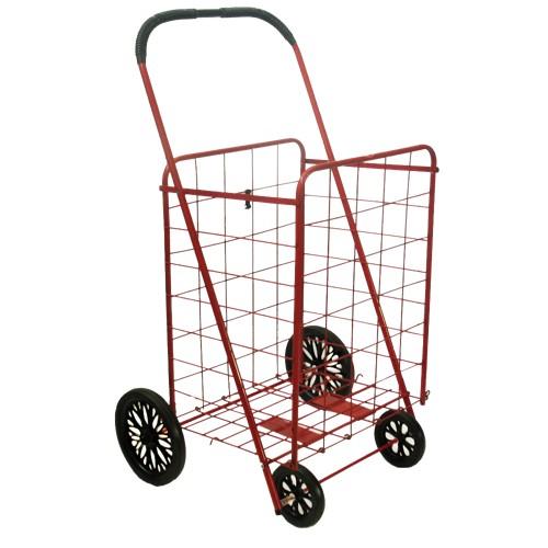 ATHome Large Wheeled Shopping Utility Cart - Red
