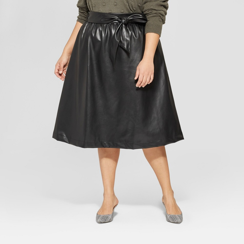 Women's Plus Size Belted Leather Skirt - Who What Wear Black 18W