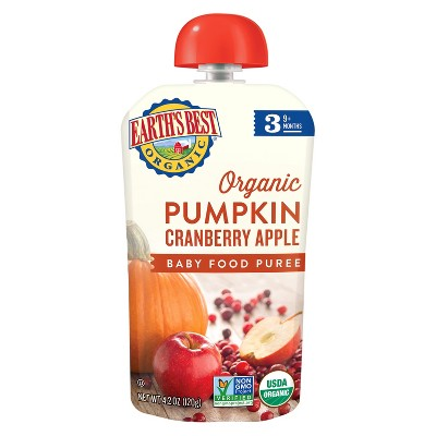 Earth's Best Organic Pumpkin Cranberry Apple Baby Food Pouch - 4.2oz