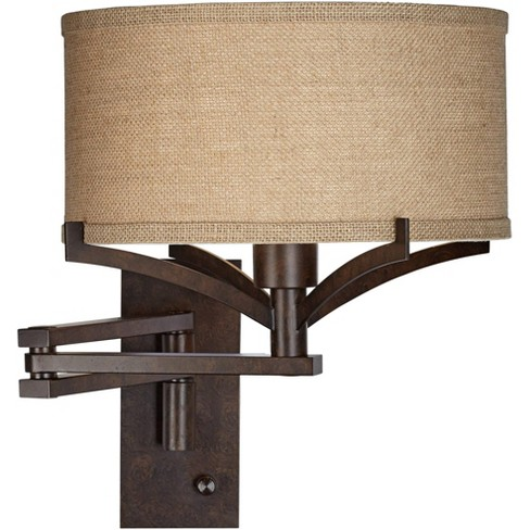 Franklin Iron Works Rustic Farmhouse Swing Arm Wall Lamp Bronze Plug-In Light Fixture Tan Burlap Drum Shade for Bedroom Bedside - image 1 of 4