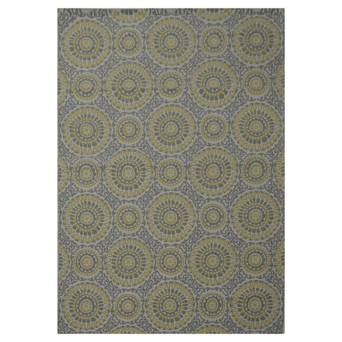 Area Rug Belize Medallion Yellow Gray Threshold
