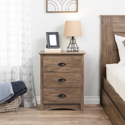 Salt Spring 3 Drawer Tall Nightstand Drifted Gray - Prepac