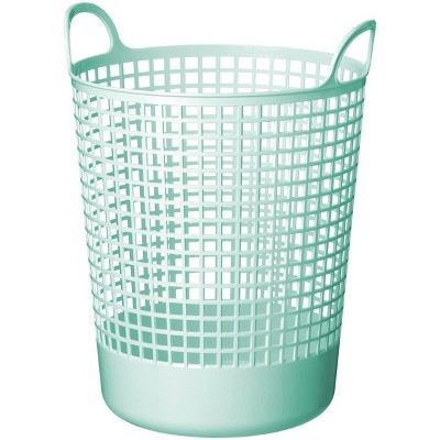 Like-It SCB-10 15 x 16 x 20 Inch Midcentury Modern Scandinavian Style Round Durable Plastic Storage Basket for Storage and Organization, Mint Blue