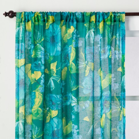 Indochic Floral Sheer Curtain Panel Bluff Green Opalhouse Target