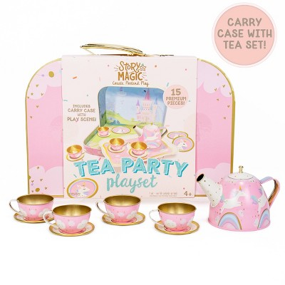 Story Magic 15pc Tea Party Playset with Carrying Case