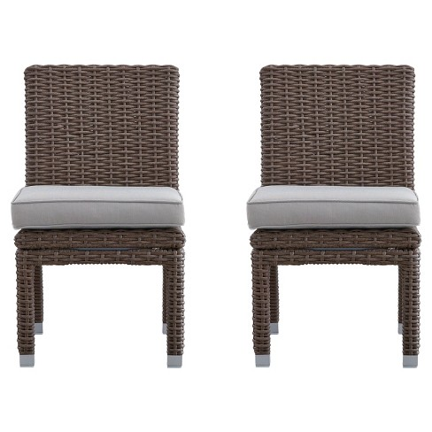 Riviera Pointe 2-Piece Wicker Patio Dining Side Chair - Mocha - Inspire Q - image 1 of 2