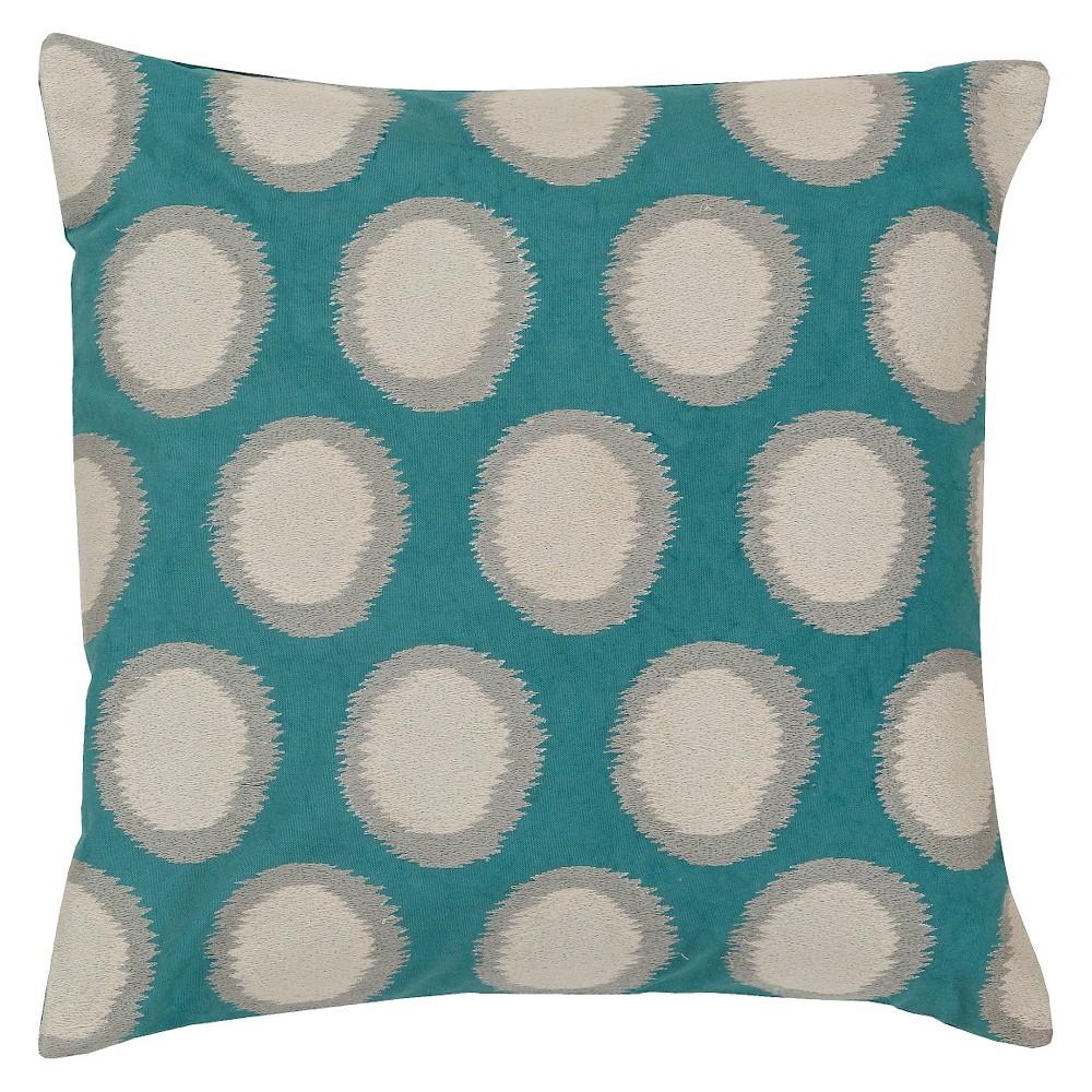 Teal (Blue) Ikat Dots Throw Pillow 18