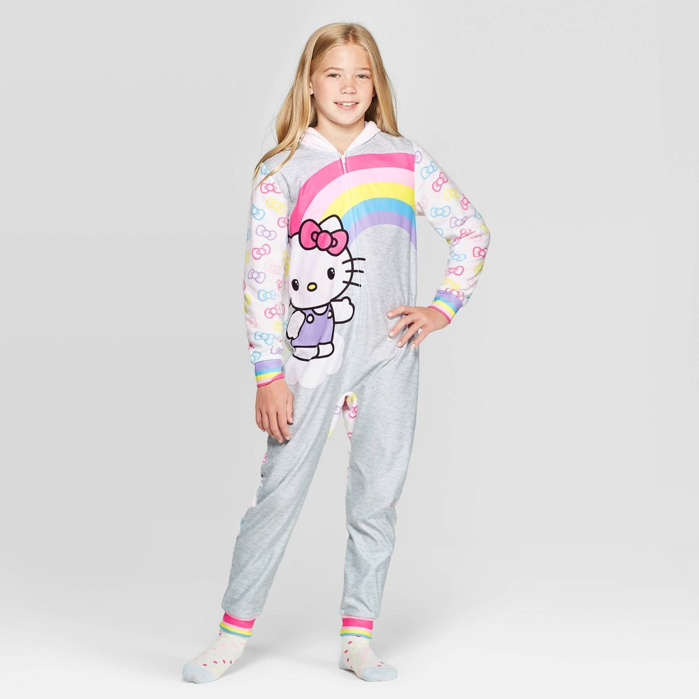 Image of Girls' Hello Kitty Hooded Union Suit - Silver/White XS, Girl's