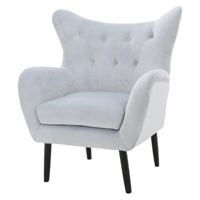 Alyssa New Velvet Arm Chair - Light Gray - Christopher Knight Home