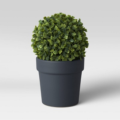 Faux Boxwood in Black Pot - Threshold™