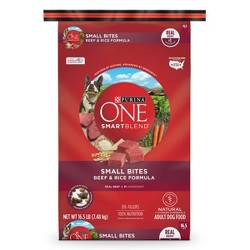 Purina ONE Natural Dry Dog Food, SmartBlend Small Bites Beef & Rice Formula - 16.5 lb Bag