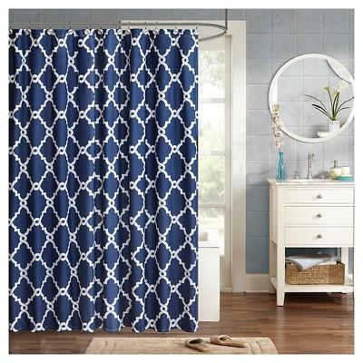 Becker Printed Geometric Shower Curtain - Navy