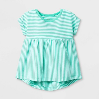 Baby Girls' Short Sleeve Stripe Mix Top - Cat & Jack™ Green 0-3 M