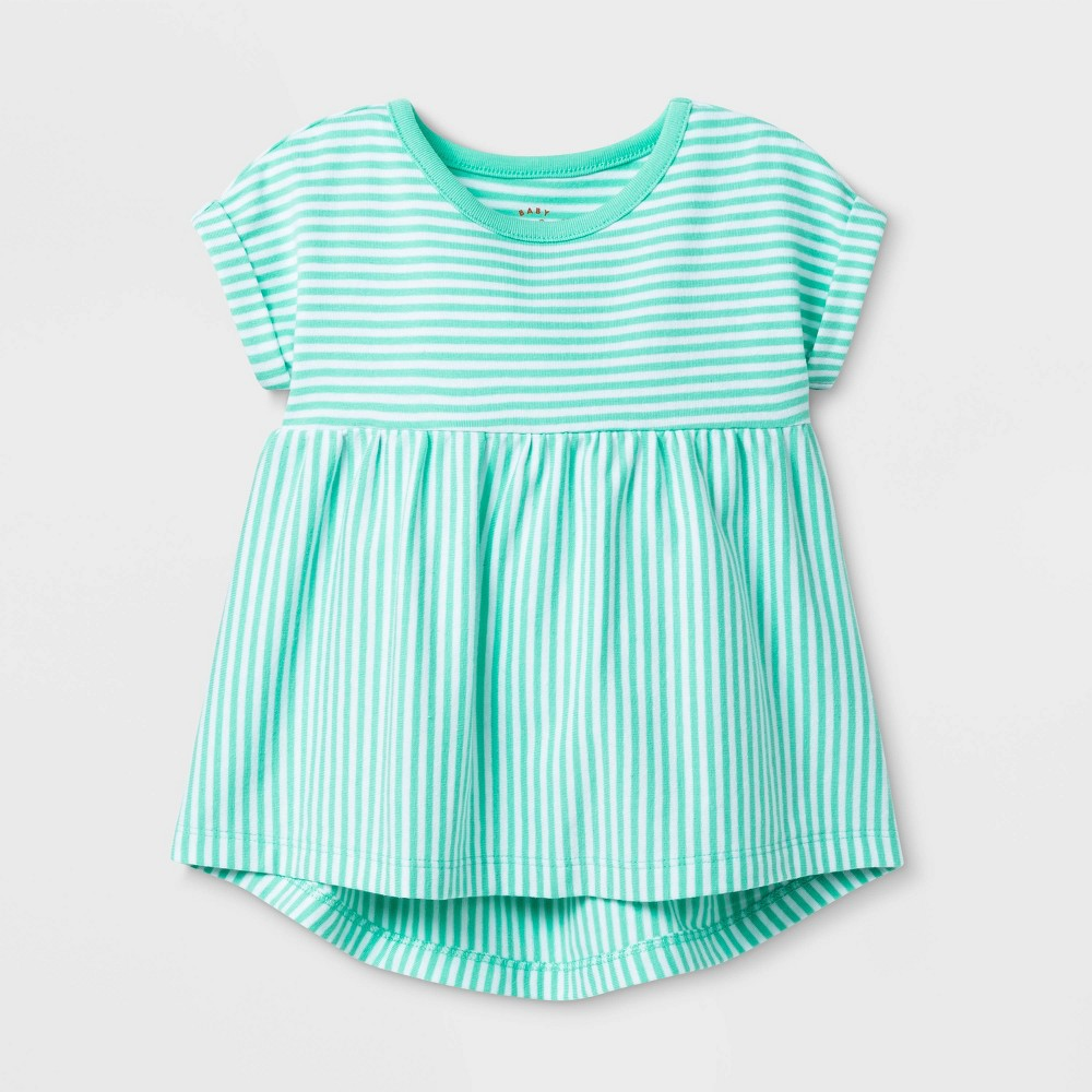 Image of petiteBaby Girls' Short Sleeve Stripe Mix Top - Cat & Jack Green 12M, Girl's