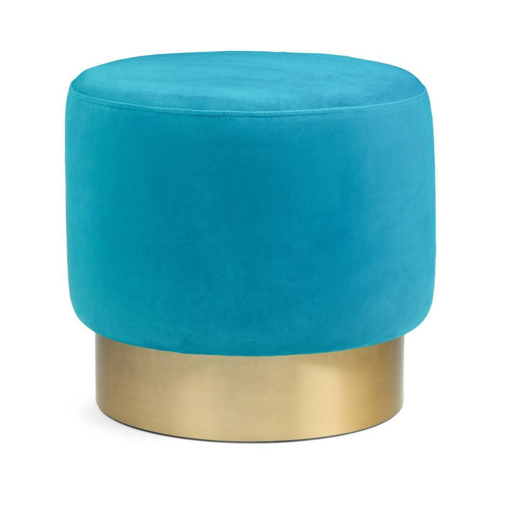 "Image of ""16"""" Ainsley Small Round Footstool Mediterranean Blue - Wyndenhall"""