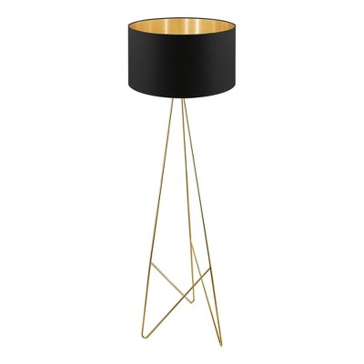 1-Light Camporale Floor Lamp with Interior Fabric Shade Gold - EGLO