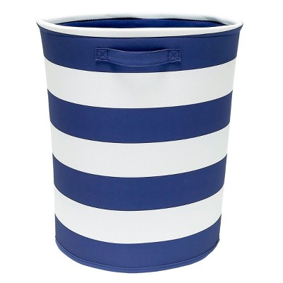 Striped Fabric Floor Bin Round Navy - Pillowfort™