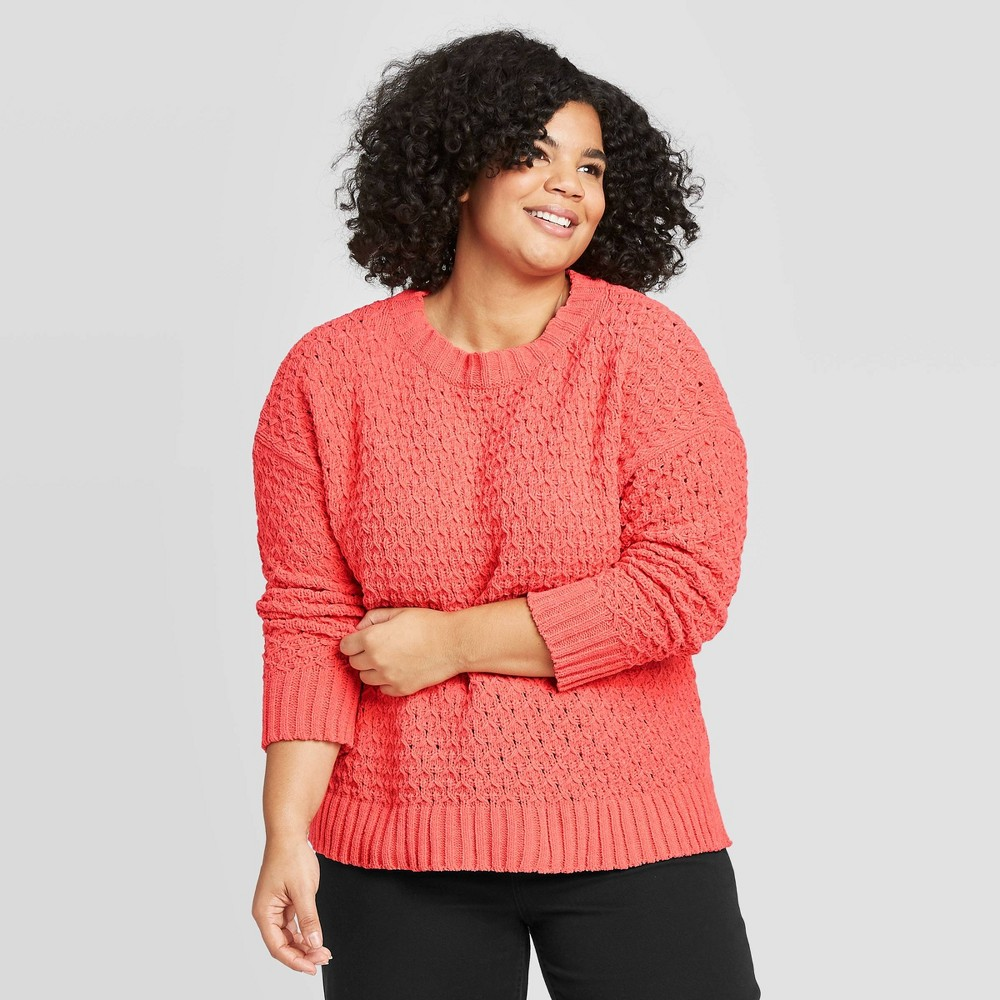 Women's Plus Size Crewneck Textured Pullover Sweater - A New Day Light Red 2X, Women's, Size: 2XL was $29.99 now $20.99 (30.0% off)
