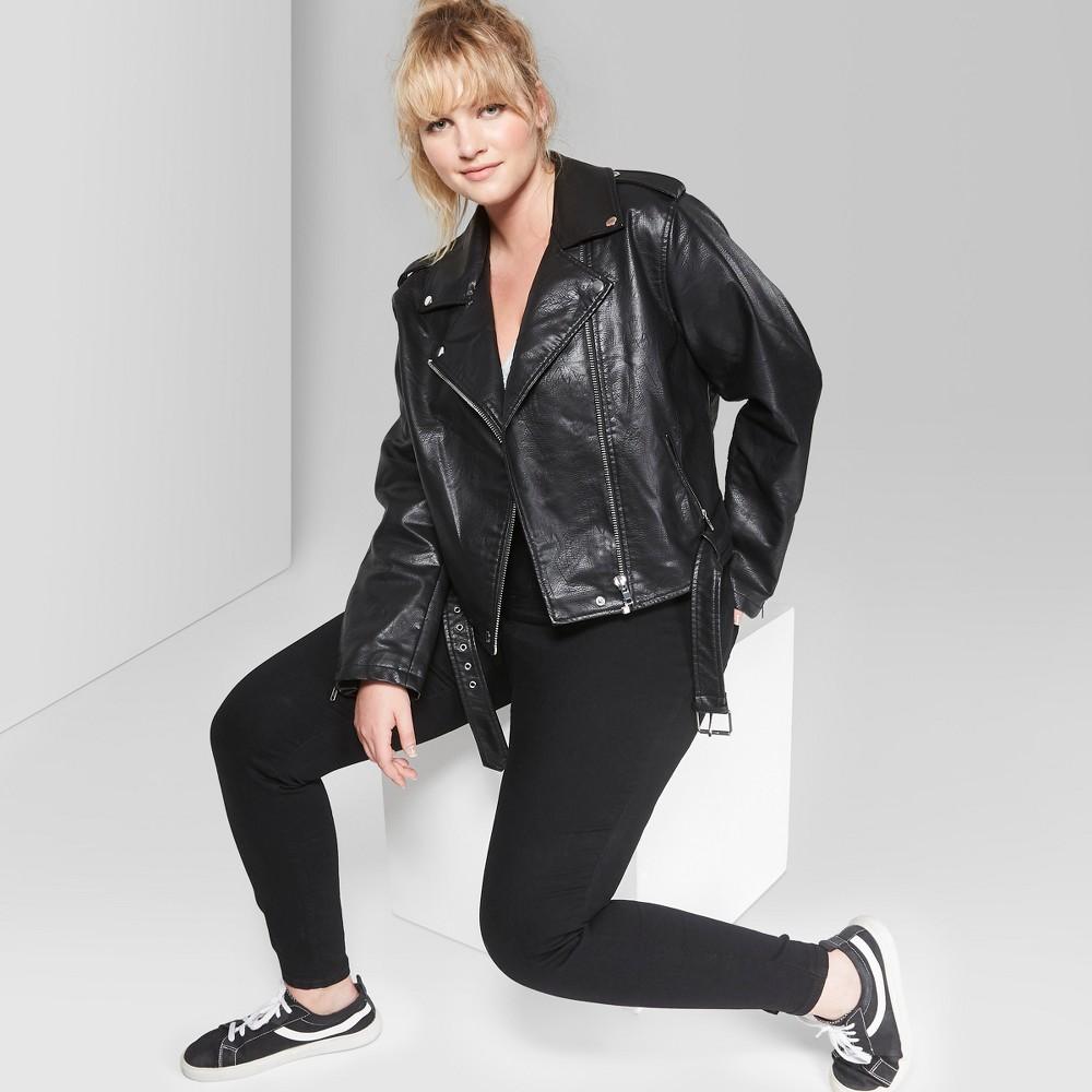 Women's Plus Size Faux Fur Leather Motorcycle Jacket - Wild Fable Black 4X