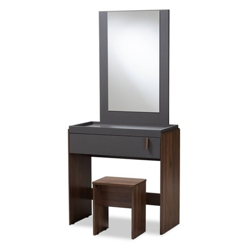 Cool Rikke Two Tone Wood Bedroom Vanity With Stool Brown Baxton Studio Beutiful Home Inspiration Aditmahrainfo