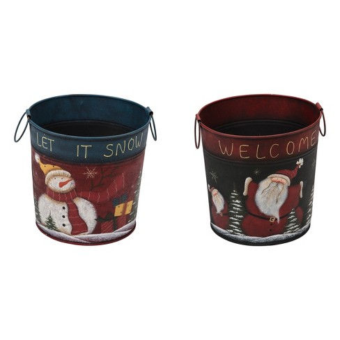 Transpac Metal 12 in. Multicolor Christmas Santa/Snowman Container 2 Assorted - image 1 of 1