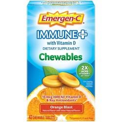 Emergen-C Immune+ Chewables Dietary Supplement Tablet, with 600 IU Vitamin D, 500mg Vitamin C - Orange Blast Flavor - 42ct