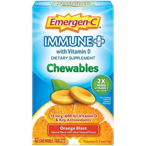 Emergen-C Immune+ Chewables Dietary Supplement Tablet, with 600 IU Vitamin D, 500mg Vitamin C - Orange Blast Flavor - 42ct - image 1 of 4