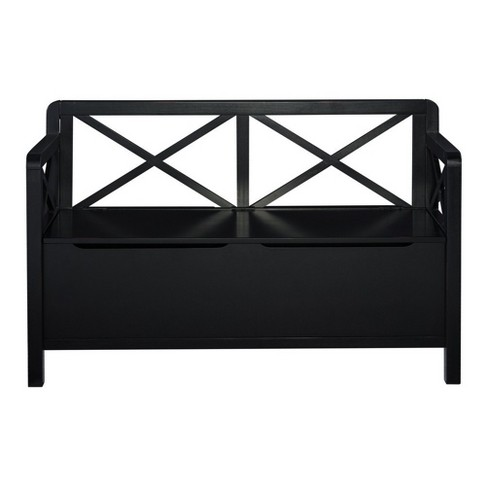 Anna Collection Storage Bench Black - Linon - image 1 of 5
