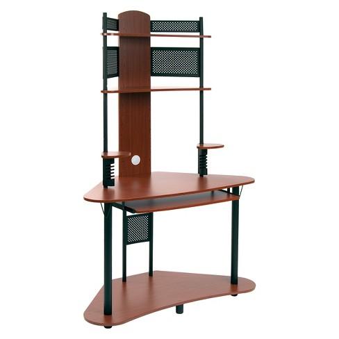 Arch Corner Desk With Multi Level Storage Cherry Black