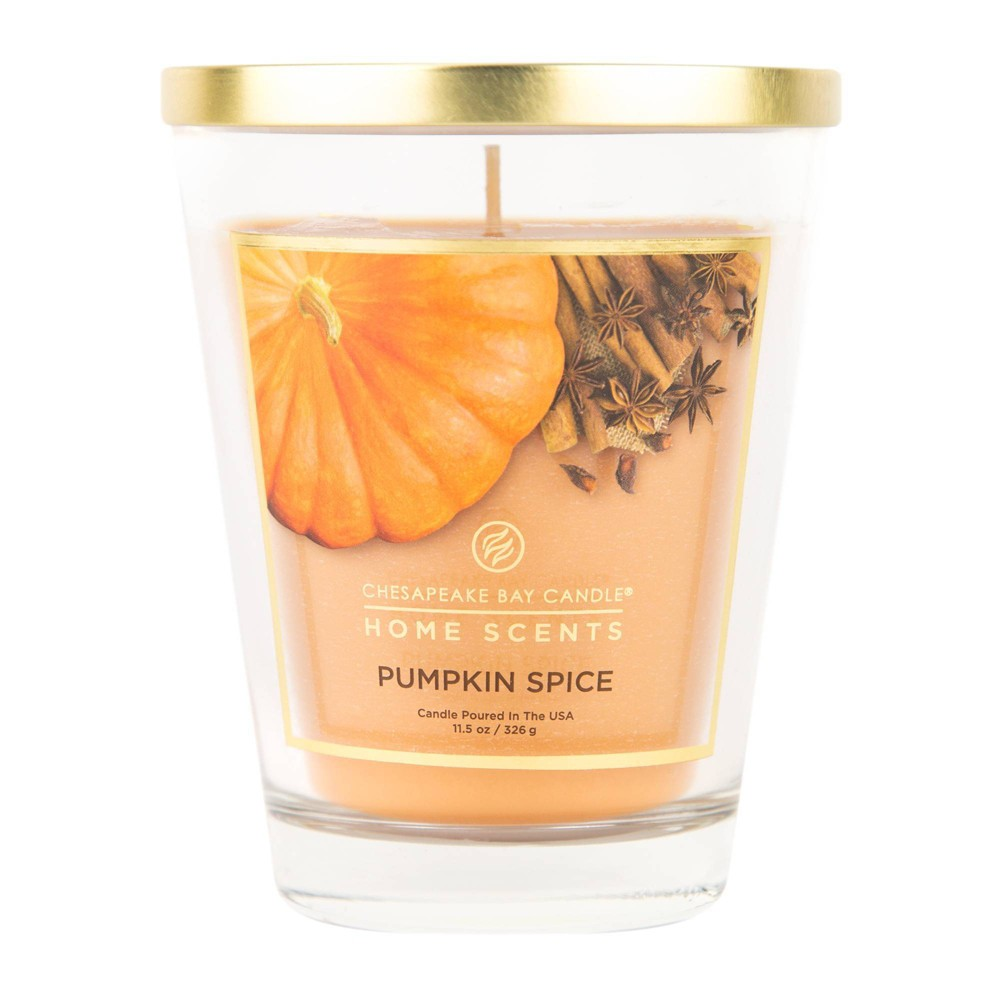Image of 11.5oz Glass Jar Candle Pumpkin Spice - Home Scents by Chesapeake Bay Candle, Orange