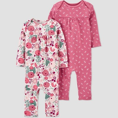 Baby Girls' 2pk Floral Coveralls - Just One You® made by carter's Pink 3M